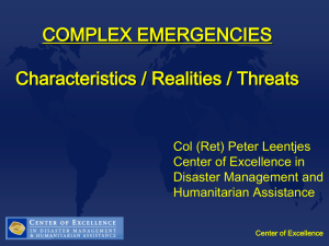 Complex Emergencies Characteristics-Realities-Threats