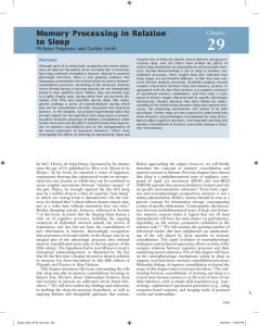 Memory Processing in Relation to Sleep