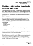 Delirium – information for patients, relatives and carers