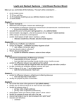 Light and Optical Systems – Unit Exam Review Sheet