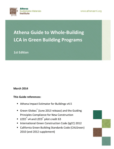2014. Athena Guide To Whole-Building LCA In Green Building