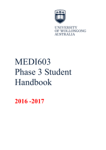 MEDI603 Phase 3 Student Handbook - Faculty of Science, Medicine