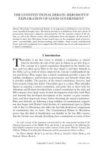 The Constitutional Debate in Herodotus
