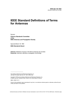 IEEE Standard Definitions of Terms for Antennas