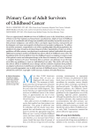 Primary Care of Adult Survivors of Childhood Cancer