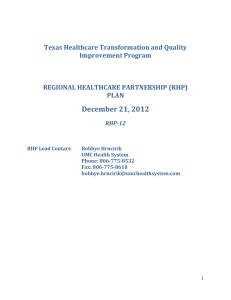 A. RHP Plan Development - Texas Regional Healthcare Partnership