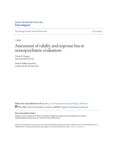 Assessment of validity and response bias in neuropsychiatric