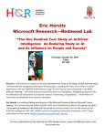 Eric Horvitz Microsoft Research—Redmond Lab