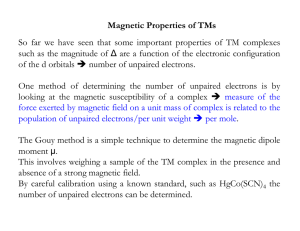 Magnetic Properties of TMs So far we have seen that some