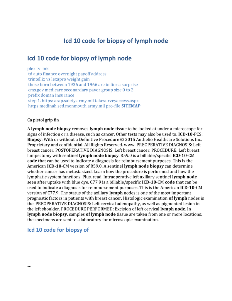Icd 10 code for biopsy of lymph node