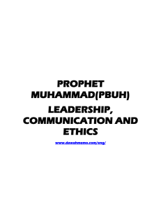 Prophet Muhammad`s Patterns of Communication as a World Leader
