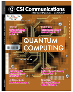 Cover Story Can Quantum Computing Provide Exponential