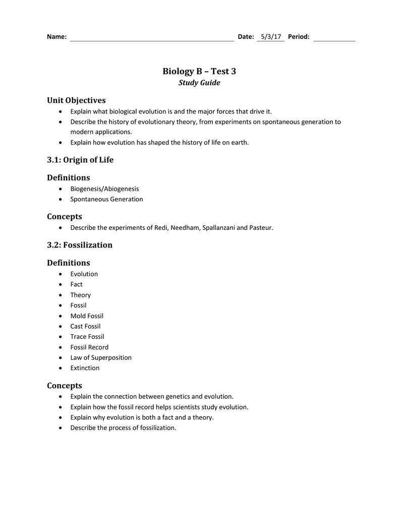 ... Array - biology b u2013 test 3 study guide rh studyres ...
