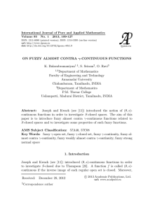 ON FUZZY ALMOST CONTRA γ-CONTINUOUS FUNCTIONS K