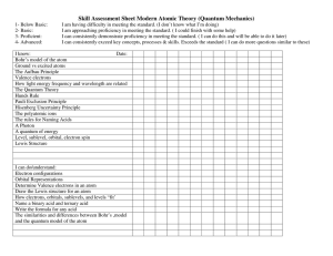 Skill Assessment Sheet Modern Atomic Theory (Quantum Mechanics)