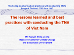 Lessons learned and best practices with conducting the TNA of Viet