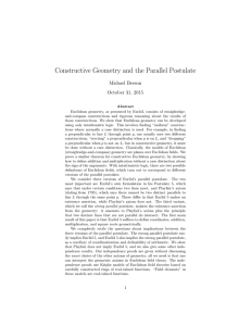 Constructive Geometry and the Parallel Postulate