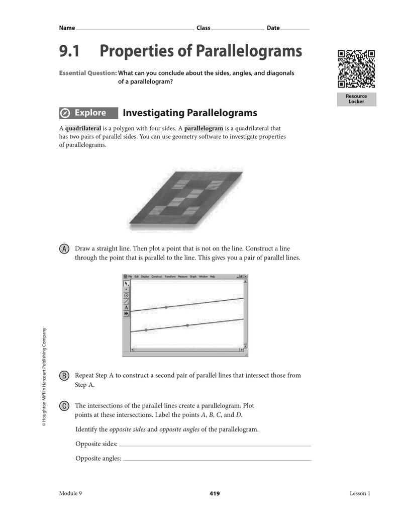 23.23 Properties of Parallelograms With Regard To Properties Of Parallelograms Worksheet