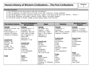 Honors History of Western Civilizations – The First Civilizations