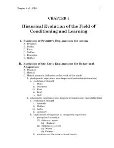 Historical Evolution of the Field of Conditioning and Learning