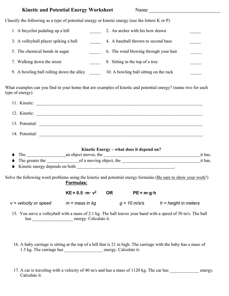 Kinetic and Potential Energy Worksheet Name