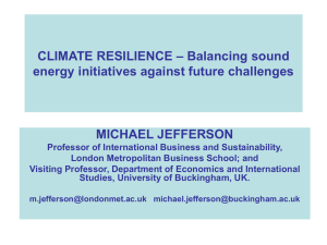 CLIMATE RESILIENCE – Balancing sound energy initiatives against