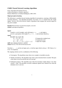 CS4811 Neural Network Learning Algorithms