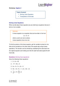 Solving Linear Equations ▪ Transposition of formulae