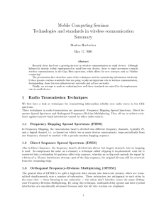 Mobile Computing Seminar Technologies and standards in wireless