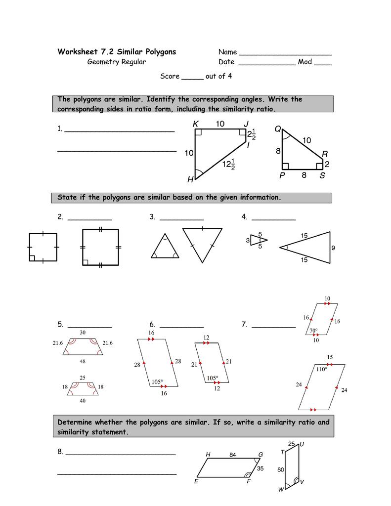 Worksheet 7 2 Similar Polygons