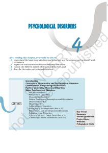 Chapter 4 - PSYCHOLOGICAL DISORDERS