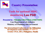 Country Report Lao PDR - Millennium Development Goals Indicators