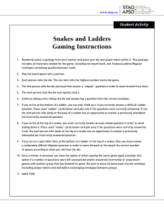 Snakes and Ladders Gaming Instructions