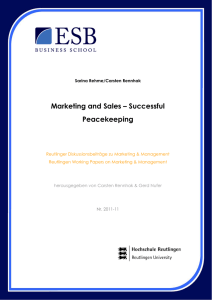 Marketing and Sales – Successful Peacekeeping
