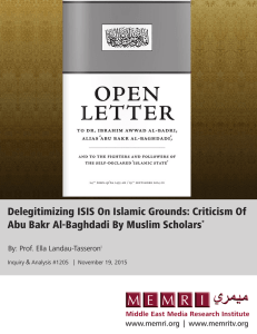 Delegitimizing ISIS On Islamic Grounds: Criticism Of Abu Bakr Al