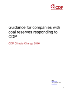 Guidance for companies with coal reserves responding to CDP