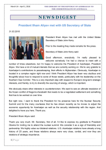 March 14 – April 1, 2016 - Embassy of the Republic of Azerbaijan to