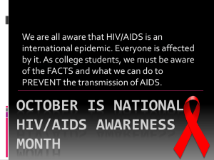 OCTOBER is NATIONAL HIV/AIDS AWARENESS MONTH