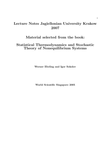 Statistical Thermodynamics and Stochastic The