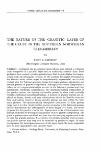 `granitic` laver of the crust in the southern norwegian precambrian