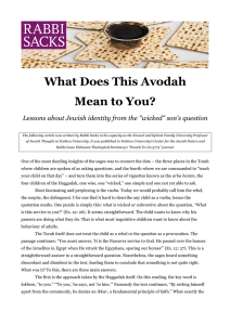 What Does This Avodah Mean to You?