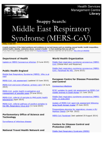 Middle East Respiratory Syndrome (MERS-CoV)