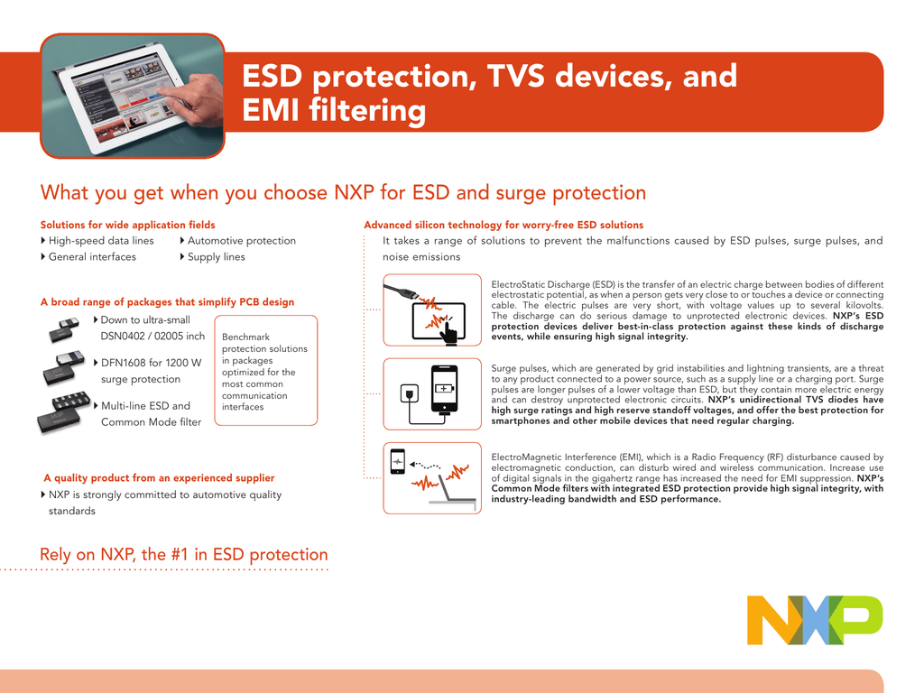 ESD protection, TVS devices, and EMI filtering