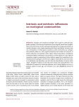 Intrinsic and extrinsic influences on ecological communities
