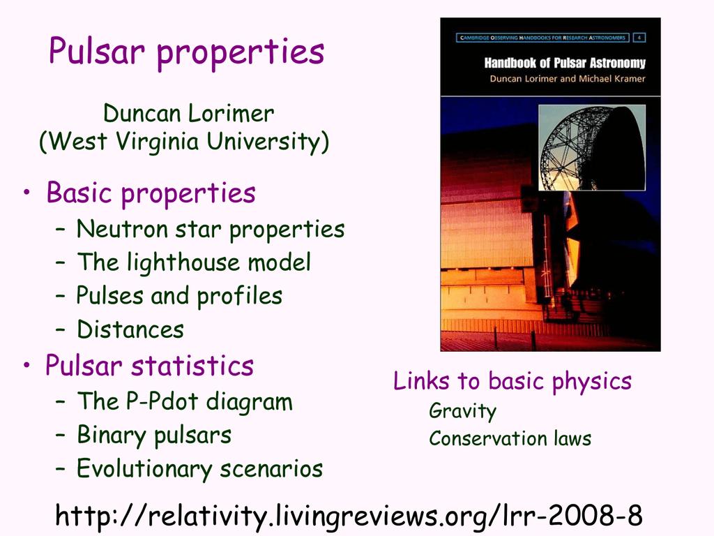 Pulsar Properties Pulsar Search Collaboratory