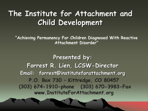 Achieving Permanency For Children Diagnosed With Reactive