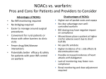 NOACs vs. warfarin - Anticoagulation Centers of Excellence