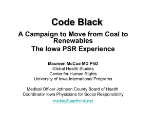 Code Black: A Campaign to Move from Coal to Renewables