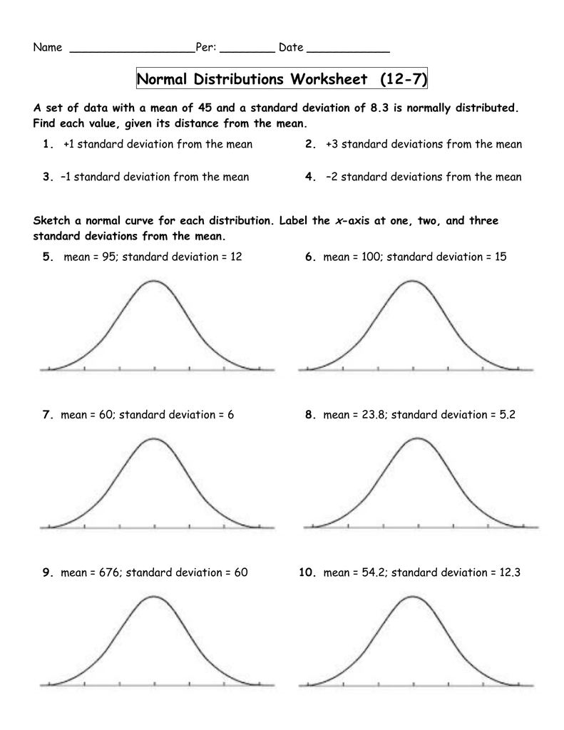 Worksheets Normal Distribution Worksheet normal distributions worksheet 12 7