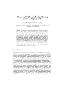 Diagnosing Self-Efficacy in Intelligent Tutoring Systems: An